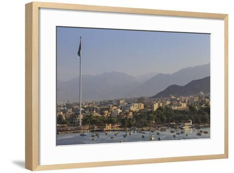 Elevated View of Aqaba Seafront with Huge Jordanian Flag, Middle East-Eleanor Scriven-Framed Art Print