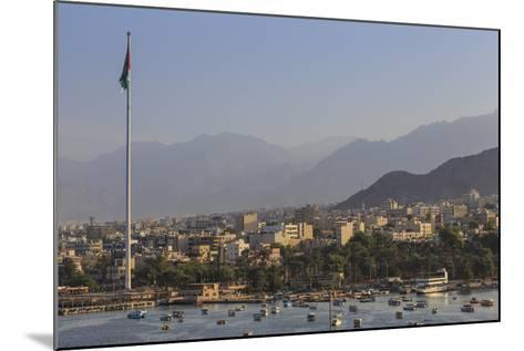 Elevated View of Aqaba Seafront with Huge Jordanian Flag, Middle East-Eleanor Scriven-Mounted Photographic Print
