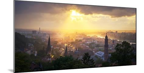 Golden Afternoon Sun Dramatically Breaking Through Rain Clouds over Spires of Heidelberg, Germany-Andy Brandl-Mounted Photographic Print
