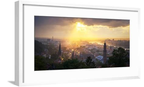 Golden Afternoon Sun Dramatically Breaking Through Rain Clouds over Spires of Heidelberg, Germany-Andy Brandl-Framed Art Print