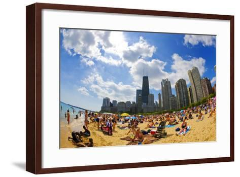 Tourists on a Beach, Oak Street Beach, Lake Shore Drive, Lake Michigan--Framed Art Print