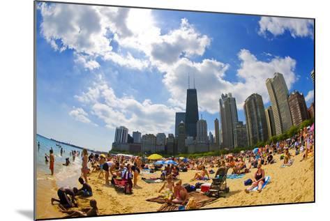 Tourists on a Beach, Oak Street Beach, Lake Shore Drive, Lake Michigan--Mounted Photographic Print