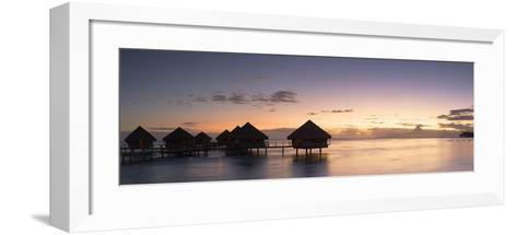 Overwater Bungalows at Le Meridien Tahiti Hotel at Sunset, Pacific-Ian Trower-Framed Art Print