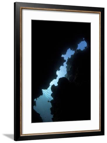 Sunlight Illuminates a Submerged Grotto on a Reef in the Solomon Islands-Stocktrek Images-Framed Art Print
