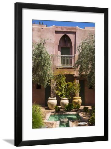 Typical Moroccan Architecture, Riad Adobe Walls, Fountain and Flower Pots, Morocco, Africa-Guy Thouvenin-Framed Art Print