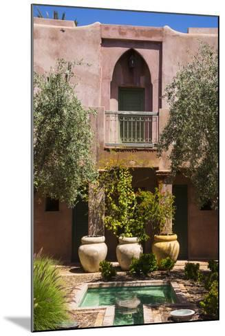 Typical Moroccan Architecture, Riad Adobe Walls, Fountain and Flower Pots, Morocco, Africa-Guy Thouvenin-Mounted Photographic Print