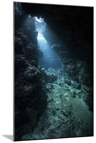 Sunlight Descends Underwater and into a Crevice in a Reef in the Solomon Islands-Stocktrek Images-Mounted Photographic Print