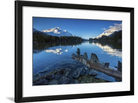 Dawn Illuminates Snowy Peaks and Bell Tower Reflected in Lake Sils, Switzerland-Roberto Moiola-Framed Art Print