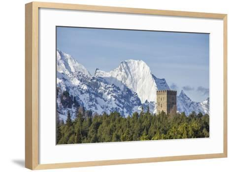 The Belvedere Tower Frames Snowy Peaks and Peak Badile on a Spring Day, Switzerland-Roberto Moiola-Framed Art Print