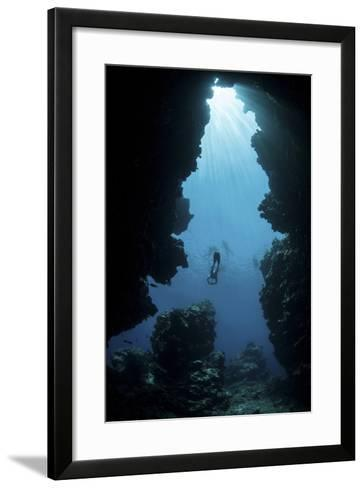 Sunlight Descends Underwater and into a Crevice on Palau's Barrier Reef-Stocktrek Images-Framed Art Print
