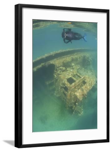 A Snorkeler Swims Above a Shipwreck in Palau's Inner Lagoon-Stocktrek Images-Framed Art Print