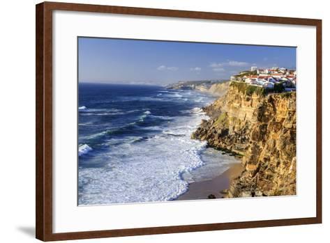 Top View of Ocean Waves Crashing on the High Cliffs of Azenhas Do Mar, Sintra, Portugal, Europe-Roberto Moiola-Framed Art Print
