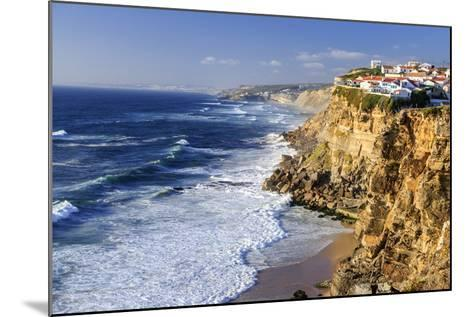 Top View of Ocean Waves Crashing on the High Cliffs of Azenhas Do Mar, Sintra, Portugal, Europe-Roberto Moiola-Mounted Photographic Print