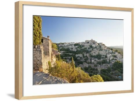 Hilltop Village of Gordes with Castle and Church at Sunrise, Provence-Alpes-Cote D'Azur, France-Markus Lange-Framed Art Print