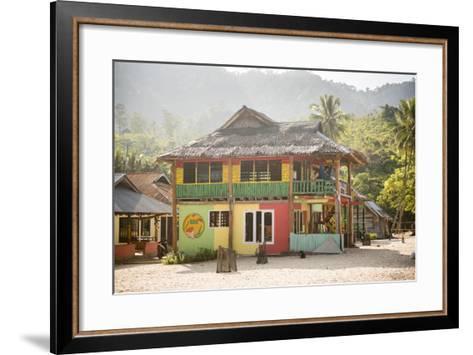 Rasta (Rastafarian) Coloured Beachfront Accommodation at Sungai Pinang, Indonesia-Matthew Williams-Ellis-Framed Art Print