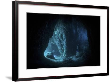 Scuba Divers Explore a Cave Near the Island of Sulawesi, Indonesia-Stocktrek Images-Framed Art Print
