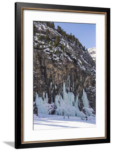 Skiers Underneath the Frozen Waterfall, Ski Piste-Mark Doherty-Framed Art Print