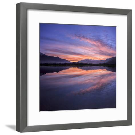 Panoramic View of Pian Di Spagna Flooded with Snowy Peaks Reflected in the Water at Sunset, Italy-Roberto Moiola-Framed Art Print