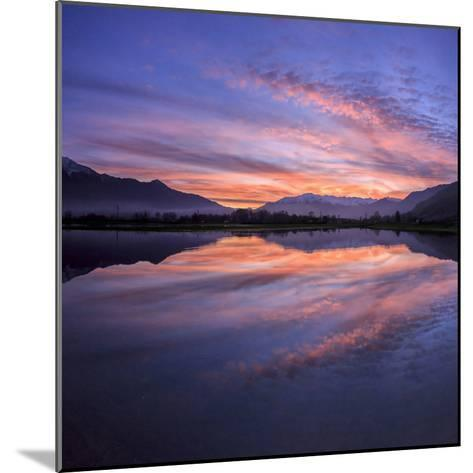 Panoramic View of Pian Di Spagna Flooded with Snowy Peaks Reflected in the Water at Sunset, Italy-Roberto Moiola-Mounted Photographic Print