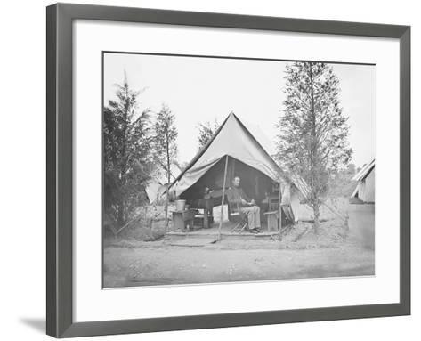 Officer in Tent During American Civil War-Stocktrek Images-Framed Art Print