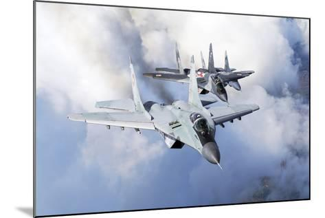 Bulgarian and Polish Air Force Mig-29S Planes Flying over Bulgaria-Stocktrek Images-Mounted Photographic Print