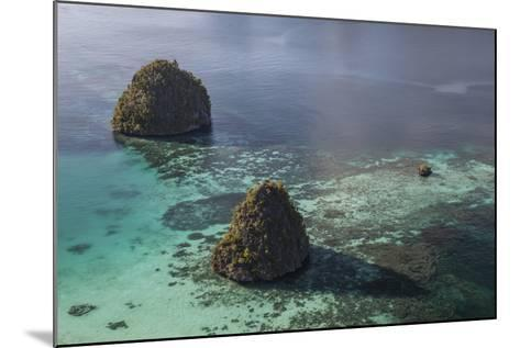Limestone Islands Surrounded by a Coral Reef in Raja Ampat-Stocktrek Images-Mounted Photographic Print