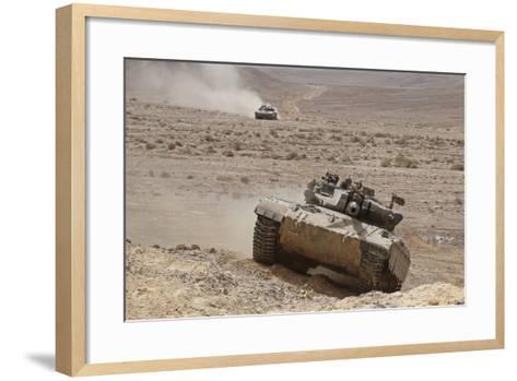 A Merkava Iii Main Battle Tank in the Negev Desert, Israel-Stocktrek Images-Framed Art Print