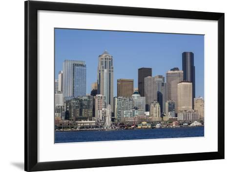 A View from Puget Sound of the Downtown Area of the Seaport City of Seattle, Washington State-Michael Nolan-Framed Art Print