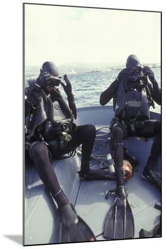 Navy Seals Combat Swimmers Donn their Equipment in a Utility Boat-Stocktrek Images-Mounted Photographic Print