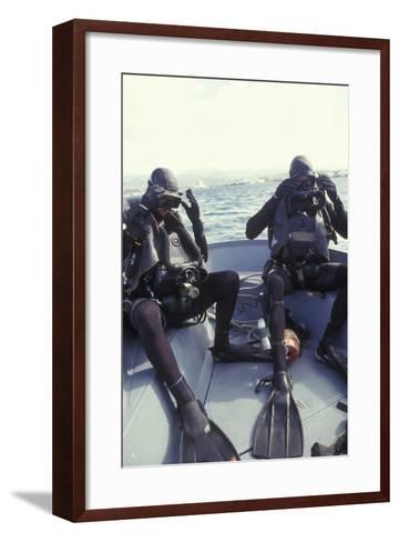 Navy Seals Combat Swimmers Donn their Equipment in a Utility Boat-Stocktrek Images-Framed Art Print