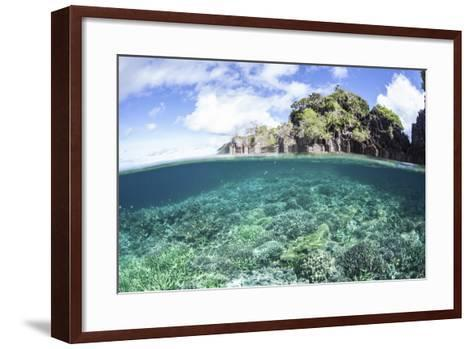 A Beautiful Coral Reef Grows Near a Set of Limestone Islands in Indonesia-Stocktrek Images-Framed Art Print