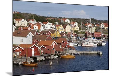 Falu Red Fishermen's Houses in Harbour, Southwest Sweden-Stuart Black-Mounted Photographic Print