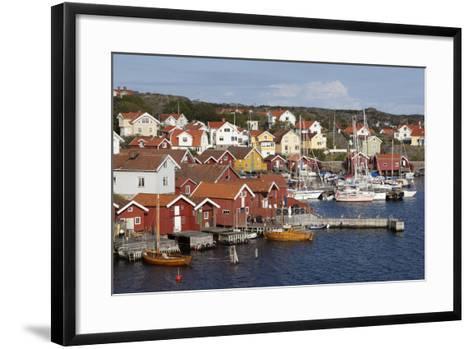 Falu Red Fishermen's Houses in Harbour, Southwest Sweden-Stuart Black-Framed Art Print