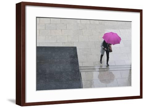 Woman with Umbrella and Mobile Phone Walking Up Steps to Auckland Art Gallery-Nick Servian-Framed Art Print