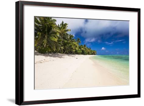 White Sandy Beach and Palm Trees on Tropical Rarotonga Island, Cook Islands, South Pacific, Pacific-Matthew Williams-Ellis-Framed Art Print