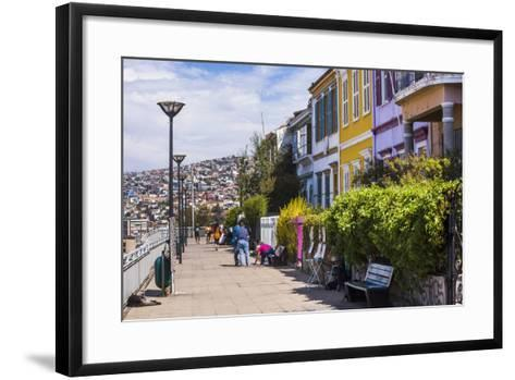 Colourful Houses in Valparaiso, Valparaiso Province, Chile, South America-Matthew Williams-Ellis-Framed Art Print