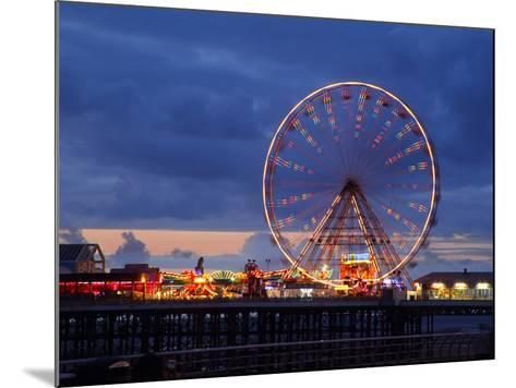 Big Wheel and Funfair on Central Pier Lit at Dusk, England-Rosemary Calvert-Mounted Photographic Print
