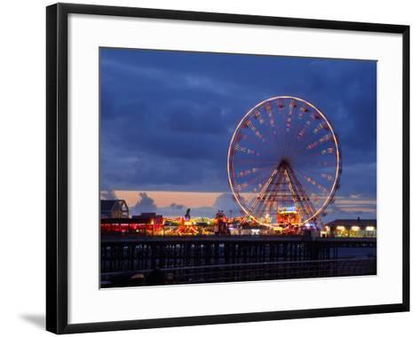 Big Wheel and Funfair on Central Pier Lit at Dusk, England-Rosemary Calvert-Framed Art Print