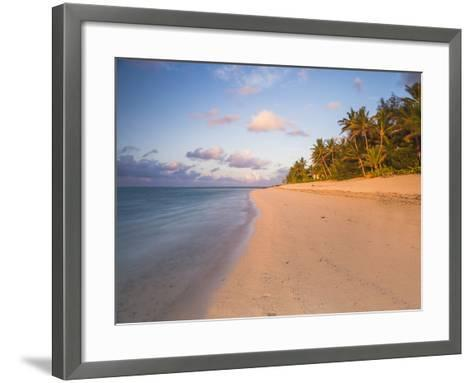 Tropical Beach with Palm Trees at Sunrise, Rarotonga, Cook Islands, South Pacific, Pacific-Matthew Williams-Ellis-Framed Art Print