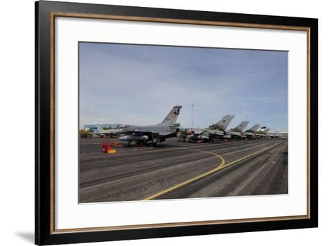 Turkish Air Force F-16 Jets on the Flight Line at Albaacete Air Base, Spain-Stocktrek Images-Framed Art Print