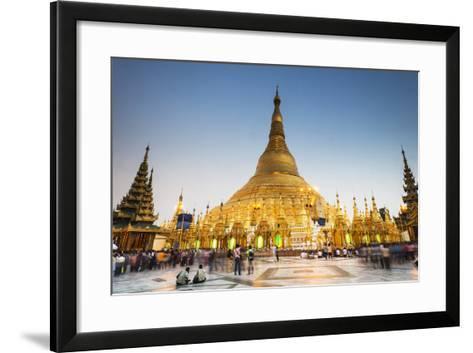 Early Evening at Shwedagon Pagoda, Yangon (Rangoon), Myanmar (Burma), Asia-Jordan Banks-Framed Art Print