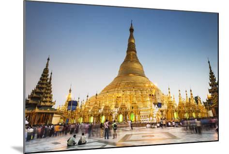Early Evening at Shwedagon Pagoda, Yangon (Rangoon), Myanmar (Burma), Asia-Jordan Banks-Mounted Photographic Print