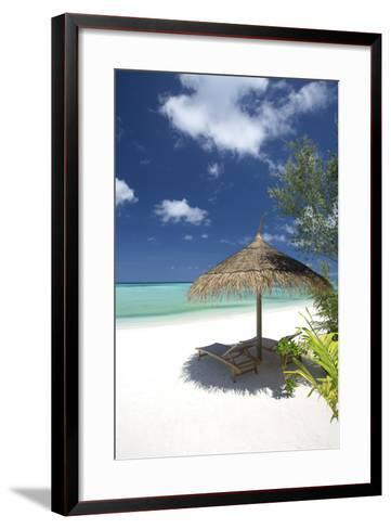 Lounge Chairs under Shade of Umbrella on Tropical Beach, Maldives, Indian Ocean, Asia-Sakis Papadopoulos-Framed Art Print