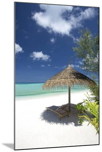Lounge Chairs under Shade of Umbrella on Tropical Beach, Maldives, Indian Ocean, Asia-Sakis Papadopoulos-Mounted Photographic Print