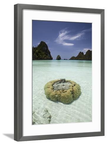 Limestone Islands Surround Corals in a Lagoon in Raja Ampat-Stocktrek Images-Framed Art Print