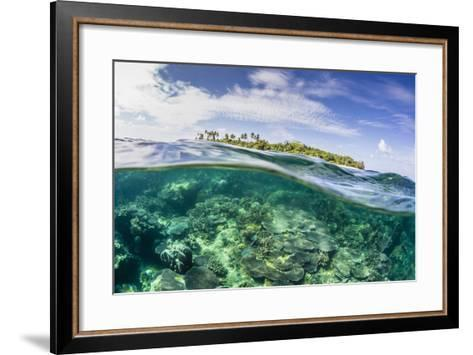 Half Above and Half Below on a Remote Small Islet in the Badas Island Group Off Borneo, Indonesia-Michael Nolan-Framed Art Print