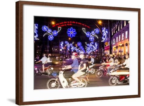Traffic and Chinese New Year Lights, Ho Chi Minh City, Vietnam, Southeast Asia-Alex Robinson-Framed Art Print