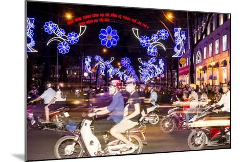 Traffic and Chinese New Year Lights, Ho Chi Minh City, Vietnam, Southeast Asia-Alex Robinson-Mounted Photographic Print