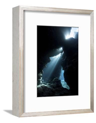 Sunlight Descends Underwater and into a Crevice in a Reef in the Solomon Islands-Stocktrek Images-Framed Art Print