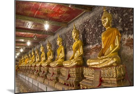 Rows of Gold Buddha Statues, Wat Suthat Temple, Bangkok, Thailand, Southeast Asia, Asia-Stephen Studd-Mounted Photographic Print